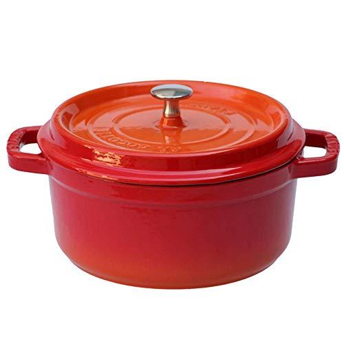 Cacerola con tapa antiadherente con revestimiento de esmalte rojo redondo de hierro fundido grande de 24 cm para cocina o horno, antiadherente (color: C)