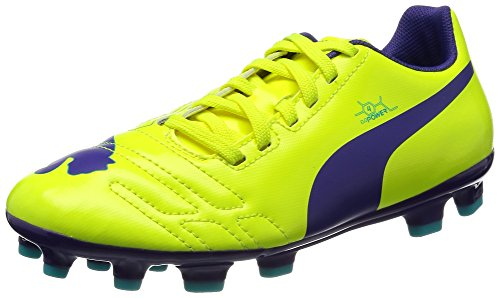 PUMA EvoPower 4 AG Jr, Unisex-Kinder Fußballschuhe, Orange (Fluro Yellow-Prism Violet-Scuba Blue 03), 38 EU (5 Kinder UK)