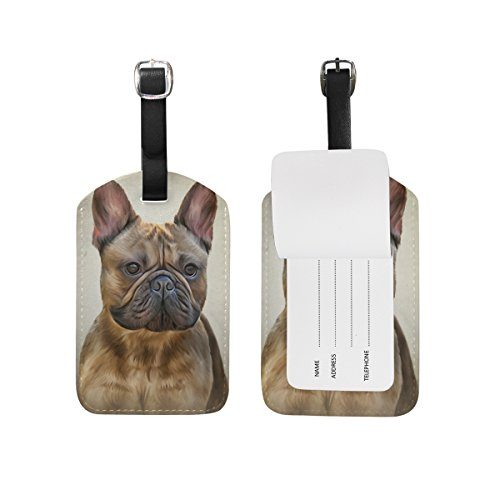 My Daily Drawing Dog French Bulldog Luggage Tag PU Leather Bag Tag Travel Suitcases ID Identifier Baggage Label