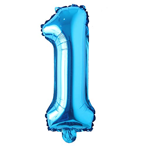 16 inch Single Blue Alphabet Letter Number Balloons Aluminum Hanging Foil Film Balloon Wedding Birthday Party Decoration Banner Air Mylar Balloons (16 inch Pure Blue 1)