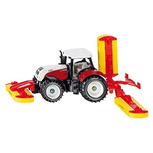 SIKU 1672, Tractor Steyr con combinación de remolque segadora Pöttinger, Metal/Plástico, Rojo, Vehículo de juguete para niños