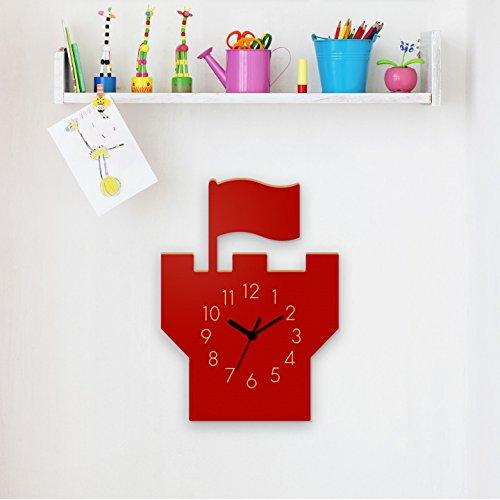 Wanduhr Turm-Rot, Kinderuhr, Uhr für Kinderzimmer