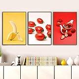 Carteles e Impresiones de Frutas Frescas Modernas Banana Lychee Tomate Lienzo Pintura impresión Arte de la Pared Imagen Cocina Restaurante Decoración-40x60cmx3 (sin Marco)
