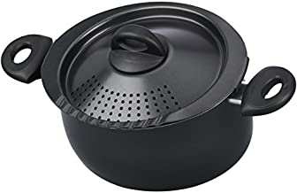 Bialetti 07265 Oval 5.5 Quart Pasta Pot with Strainer Lid, Nonstick, 1, Black