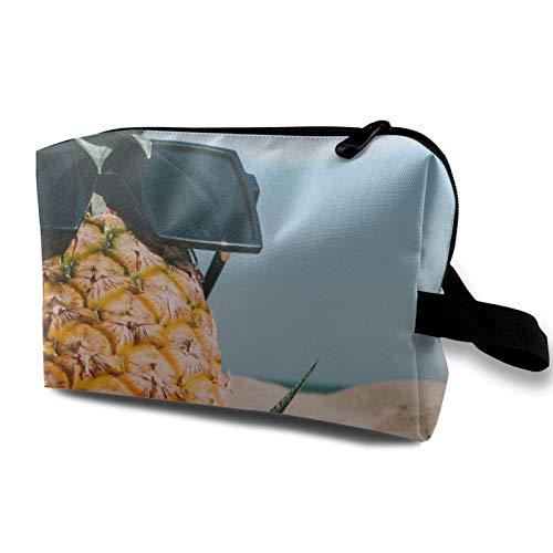 Bolsa de almacenamiento de lona de maquillaje de viaje, bolso de aseo portátil, pequeño organizador de cosméticos, bolsa de monedas para niñas y mujeres, hombres, divertida piña con gafas de sol