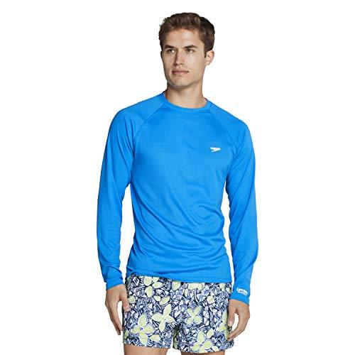 Speedo Men's Uv Swim Shirt Easy Long Sleeve Regular Fit,Blue Lemonade,Small
