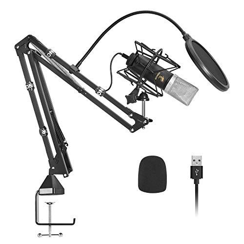 Microfono a Condensatore, TONOR Mic Cardioide USB con Diaframma da 14 mm/Braccio Asta Aggiornato/Supporto Antiurto Spider per Streaming, Registrazione, Gioco, Podcasting, Voice Over, YouTube, TC-2030