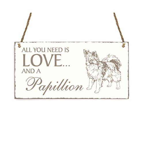 SCHILD Dekoschild « All you need is LOVE and a PAPILLON » Hund Shabby Vintage Holzschild Türschild