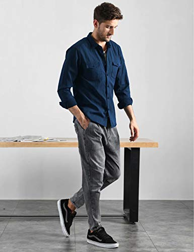 LecGee Men's Lightweight Long Sleeve Shirt Quick Dry Cotton Shirt for Hiking Travel Top Blue