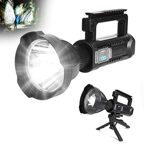 Rechargeable LED Spotlight Flashlight Super Bright 8000 lumens Handheld Brightest Flashlight with 4 Modes IPX5 Waterproof Large Searchlight for Fishing Hiking and Camping with Tripod and USB Output