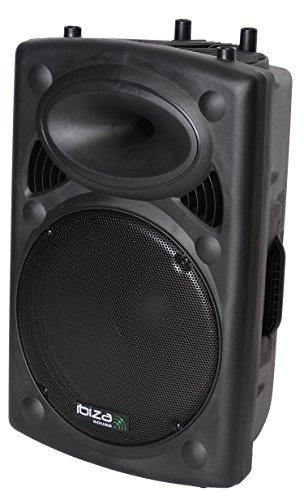 """Ibiza SLK15A-BT - Bafle Profesional Activo de 15""""/38 cm 800 W con USB - Mp3 & Bluetooth, Color Negro"""