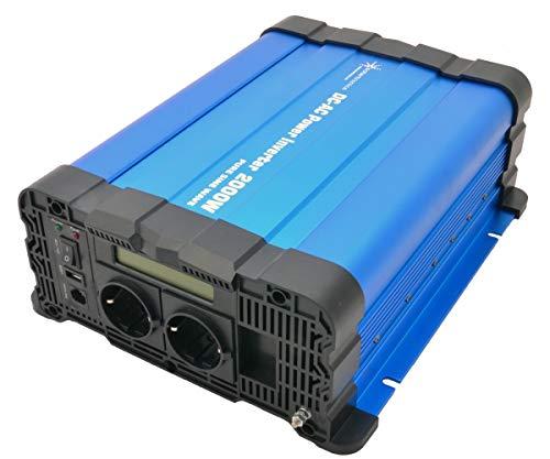solartronics Spannungswandler FS2000D 24V 2000/4000 Watt Reiner Sinus BLAU m. Display FS Serie Inverter Wechselrichter
