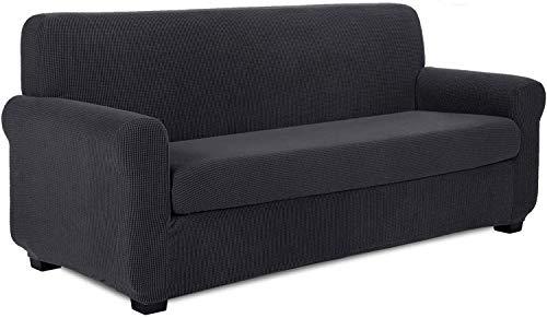 XHNXHN 2 fundas universales para sofá, tela de poliéster y elastano para 1 2 3 4, fundas elegantes de jacquard para sofá, protector de sofá elástico (gris oscuro, 4 asientos/sofá)