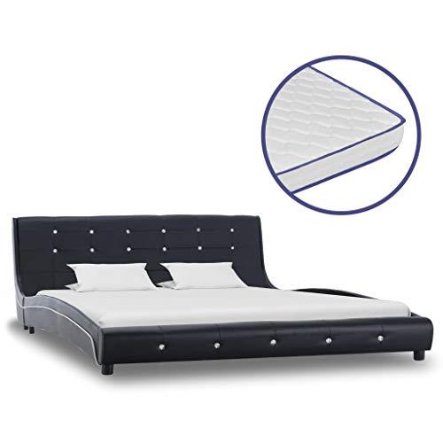 Festnight Bed met traagschuim matras kunstleer ledikantvoet voor volwassenen Kinderen zwart 160x200 cm