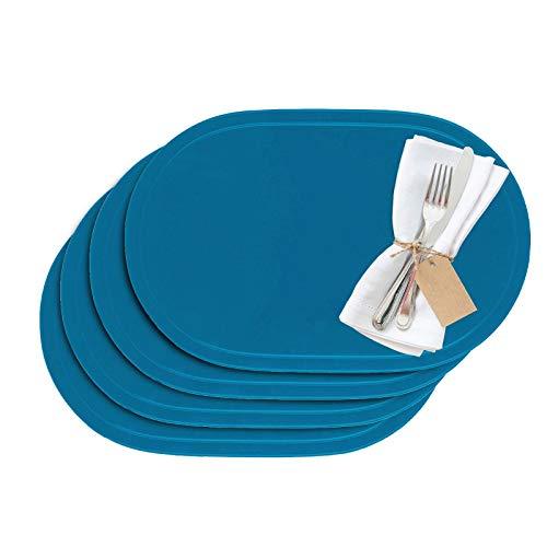 Westmark - Manteles individuales (vinilo, 45,5 x 29 cm, 4 unidades), vinilo, azul claro, 45.5 x 29 cm
