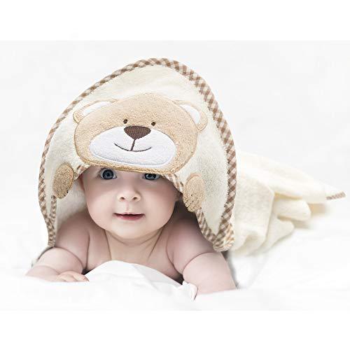 all Kids United Babyhandtuch mit Kapuze I Kapuzenhandtuch für Babys und Kinder 76 x76 cm I Kapuzentuch aus 100% Frottee Baumwolle - Baby Badetuch mit Kapuze - Öko-Tex 100