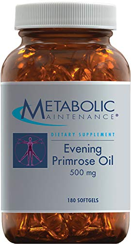 Metabolic Maintenance Evening Primrose Oil Capsules - 500mg Cold Pressed GLA + LA Supplement - Supports Balanced Hormonal Function for Women, Helps Maintain Healthy Skin (180 Softgels)