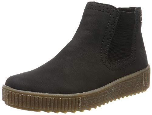 Rieker Damen Stiefeletten Y6463, Frauen Chelsea Boots, halbstiefel Schlupfstiefel gefüttert Winterstiefeletten,schwarz/schwarz / 01,40 EU / 6.5 UK