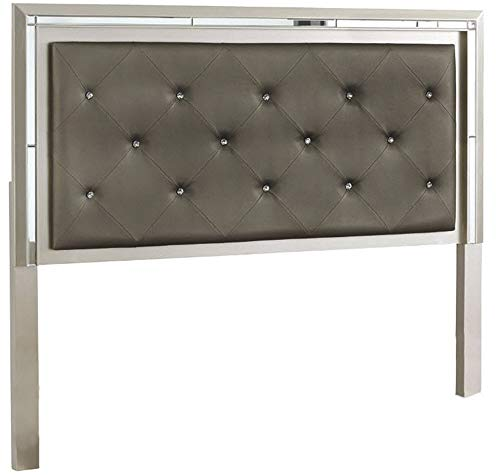 Signature Design By Ashley - Lonnix Queen Upholstered Panel Headboard - Silver Finish