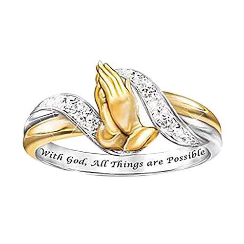 minjiSF Juego de anillos de oro bohemio para mujer con circonitas para mujeres y niñas, conjunto de anillos de moda elegante chapado en oro con diamantes engastados