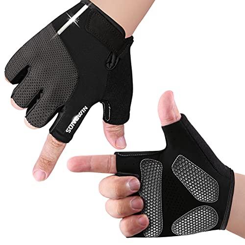 Fahrradhandschuhe, Radsporthandschuhe rutschfeste und stoßdämpfende MTB Handschuhe Mountainbike Handschuhe mit Signalfarbe geeiget Unisex Herren Damen (L)