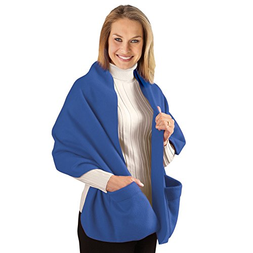 Collections Cozy Fleece Wrap Shawl With Large Front Pockets...