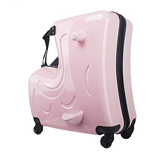 Schimer handbagage koffer met harde schaal en trekriem van 24 inch roze 20 inch