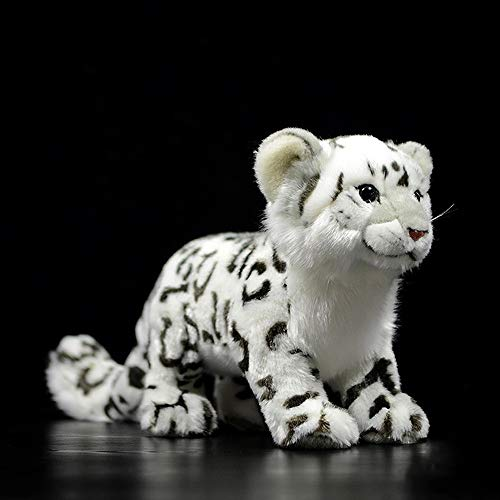 Pcqre High Simulation Snow Leopard Animal Stuffed Toy Soft Cotton Plush Animal Toy Plush Doll Figurine Kids Soothing Toy Cuddly Toy Children Companion Toy Birthday Gifts Present