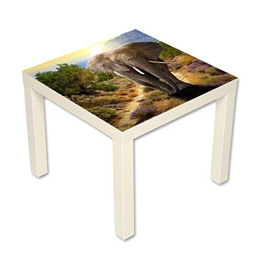 B-wie-Bilder.de bijzettafel salontafel met motief dieren olifant wit
