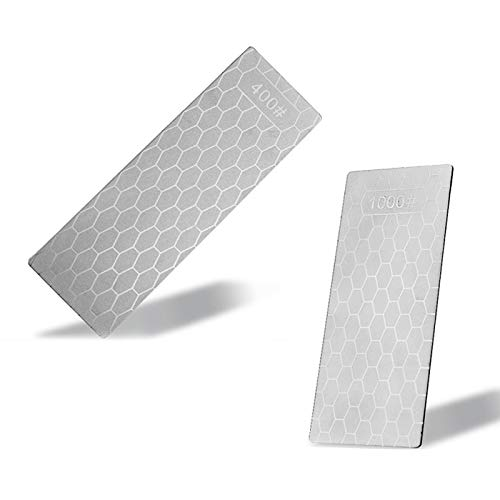 Dcolor Piedra de Afilar de Cuchillos de Diamante 400 + 1000 Afilador de Cuchillos Herramienta de Corte de Piedra de Afilar de Superficie de Panal Ultrafina