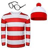 NUWIND - Conjunto de gorro, gafas y camiseta de rayas rojas y blancas para disfraz de Halloween o fiesta de disfraces