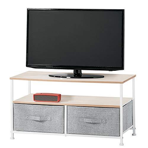 mDesign Tavolino porta TV minimale con struttura in metallo — Mobile TV con 2 ripiani e comodi cassetti in fibra sintetica per gli accessori — Elegante mobile hifi con ripiani in MDF — grigio