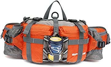 AFFINEST Outdoor Waterproof Fanny Waist Pack Multifunctional Storage Lumbar Bag with 2 Water Bottle Holder for Hiking Camping Climbing Hunting Ski Fishing(Orange)