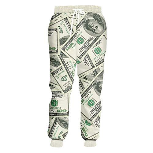 Unisex Hosen Lustige 3D Geld-Dollar-Druck-Rüttler-Hosen Unisex-Rock-Punk Hip Hop Jogginghose Dollar Pants 4XL