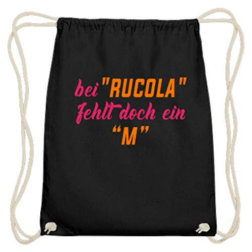 Hoogwaardige katoenen gymzak - Bij Rucola Fehlt aber Ein M! Party motief - eenvoudig en grappig design