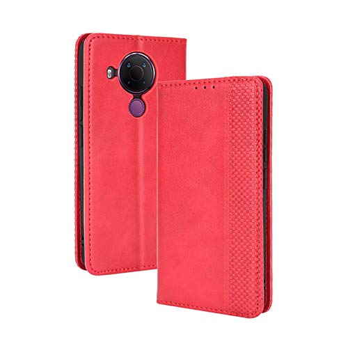TOPOFU Leder Hülle für Nokia 5.4, Premium Flip Wallet Tasche mit Ständer & Kartenfächer, PU/TPU Magnetic Lederhülle Handyhülle Schutzhülle für Nokia 5.4 (Rot)