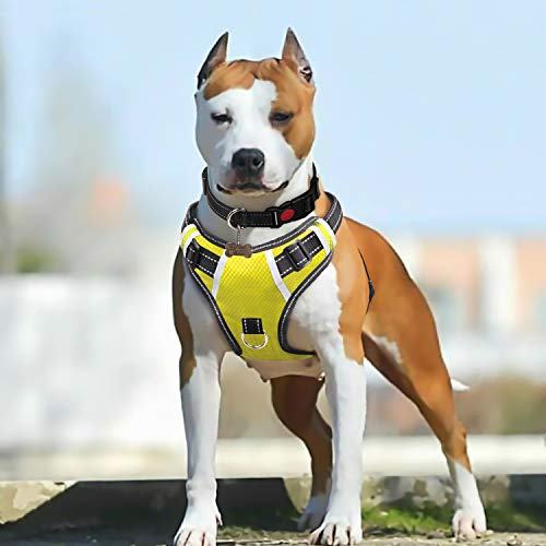 BABYLTRL Big Dog Harness No Pull Adjustable Pet Reflective Oxford Soft Vest for Large Dogs Easy Control Harness (L, Yellow)