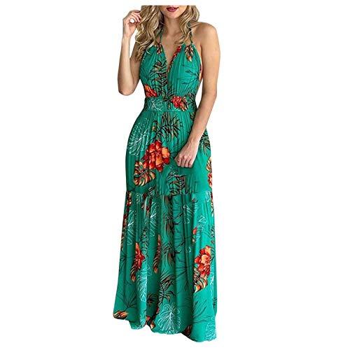 Binggong Damen Sexy Kleid Sommerkleid V-Ausschnitt Böhmisch Blumenkleid Linien Kleid Floral Minikleid Lange Ärmel Strandkleid Boho Tunika Sommerkleid Blumenkleid Loose T-Shirt Kleid Floral Minikleid