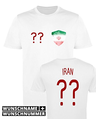 Comedy Shirts - Iran Trikot - Wappen: Klein - Wunsch - Damen Trikot - Weiss/Rot Gr. XS
