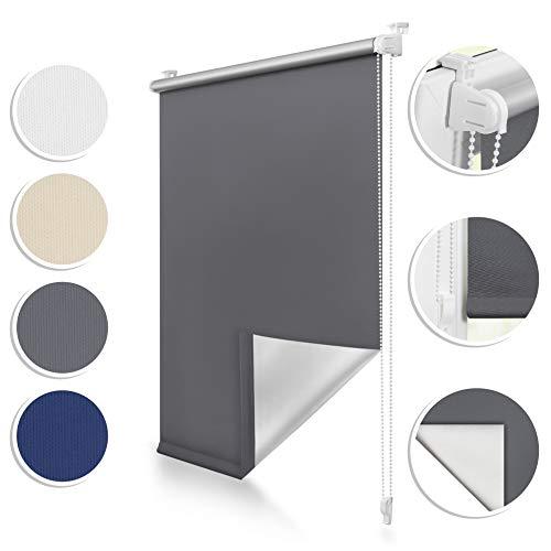 ROOMY Thermo-Rollo Klemmfix, 45 x 150 cm, ohne Bohren, blickdichte Verdunkelung für Fenster und Türen, attraktiver Sicht- und Sonnenschutz in Anthrazit, einfache Montage Dank Click-System