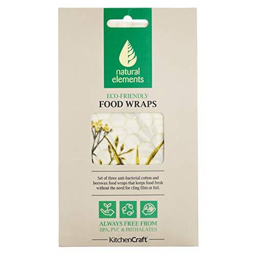 Kitchen Craft Natural Elements - Juego de tres envoltorios de cera de abejas de algodón orgánico