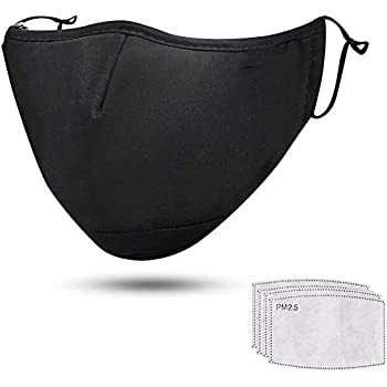 Irritant Gas Particulate Matter Windproof Cotton Cloth Facial Towel Haze Protection Against Pollen Unisex Reusable Face Bandanas with Activated Carbon Filters Insert Replaceable