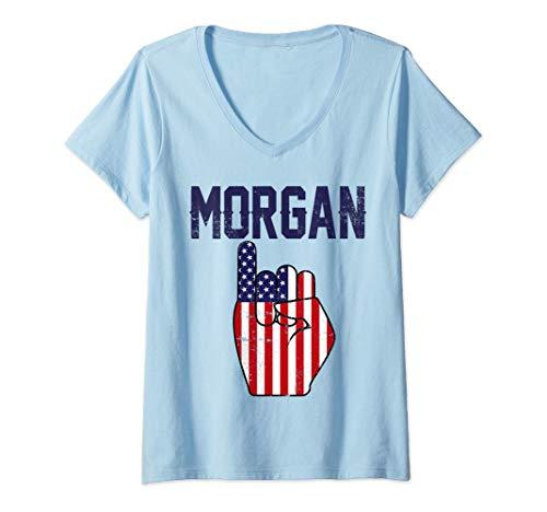 Donna Morgan Tè Celebrazione del calcio Regalo per le Donne Maglietta con Collo a V