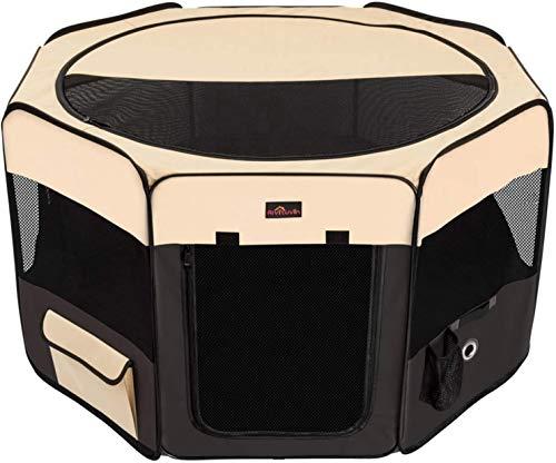 Caneta de exercício portátil dobrável para animais de estimação da Aivituvin, compatível com cães pequenos e grandes, gatinho, coelho, gaiola de cachorro Oxford e canil compatível com uso interno/externoAivituvin Medium marrom