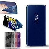 RLGPDON Funda Samsung Galaxy S10 Plus Case Clear View Standing Cover, Flip Cover Carcasa para Samsung Galaxy S10 Plus Soporte Plegable, Azul