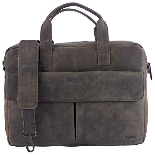 Sunsa Leren laptoptas voor heren, 14 inch, zakelijke aktetas, bruin, grote handtas, leren tas, notebooktas/laptoptas, schoudertas, vintage werktas, crossbody mannen geschenken