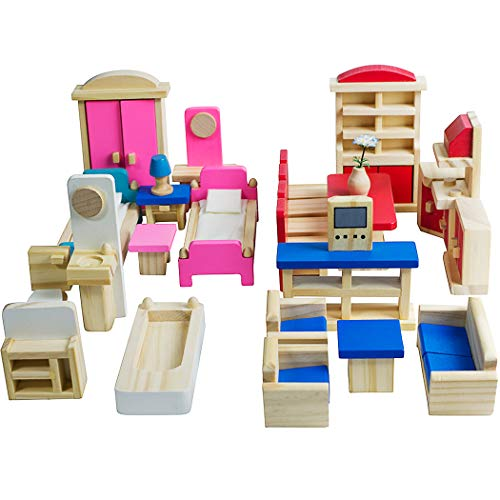 Seanmi Wooden Dollhouse Furniture - 5 Sets, 1:12 Scale Doll House Furnishings, 35 Pieces of Dollhouse Accessories (Living Room, Kitchen, Dining Room, Bedroom, Bathroom)