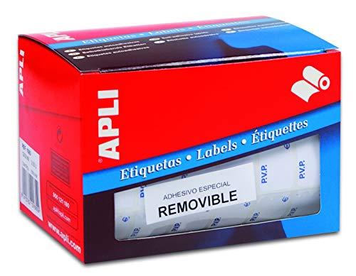 APLI 10085-Rollo etiquetas PVP naranja fluorescente removibles 12,0 x 18,0 mm