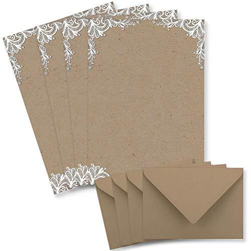 25 Briefbogen-Sets DIN A4 - Briefpapier in Kraftpapier-Look mit weißer Spitze - mit passenden Briefumschlägen DIN C6 in taupe Briefpapier bedruckbar ideal für Hochzeitseinladungen
