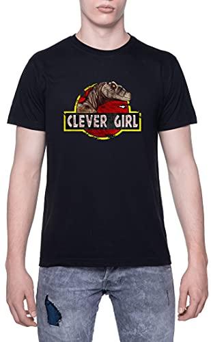 Clever Girl Dinosaur Camiseta De Los Hombres Manga Corta Negro T-Shirt Men Black tee L